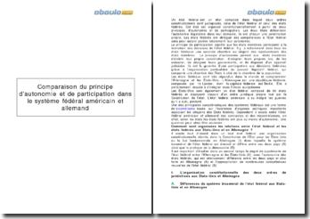 Comparaison du principe d'autonomie et de participation dans le système fédéral américain et allemand