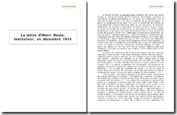 La lettre d'Henri Boule, instituteur, en décembre 1914