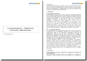 La consommation : définitions, structures et déterminants