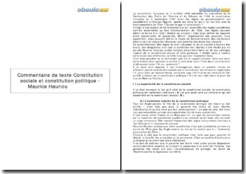 Constitution sociale et constitution politique, de Maurice Hauriou