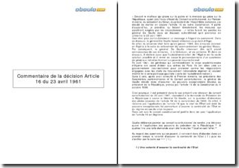 Commentaire de la décision Article 16, du 23 avril 1961