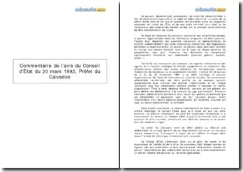 Commentaire de l'avis du Conseil d'Etat du 20 mars 1992, Préfet du Calvados