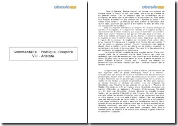 Commentaire : Poétique, Chapitre VIII - Aristote