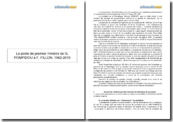 Le poste de premier ministre de G. Pompidou à F. Fillon, 1962-2010