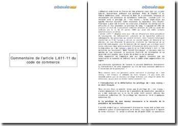 Commentaire de l'article L.611-11 du code de commerce