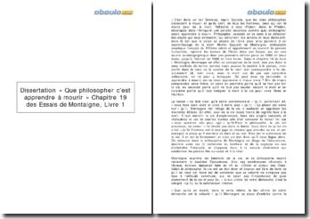 « Que philosopher, c'est apprendre à mourir » Chapitre 19 des Essais de Montaigne, Livre 1