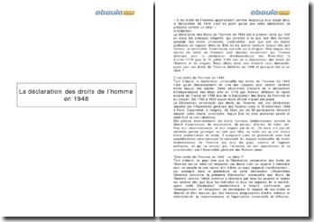 La déclaration des Droits de l'homme en 1948