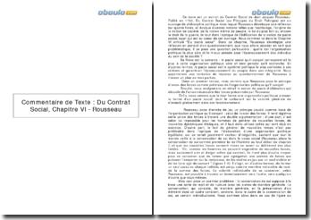 Du contrat social, Chapitre VI - Rousseau