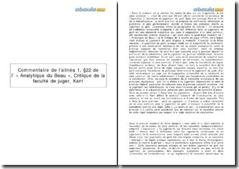 Commentaire de l'alinéa 1, 22 de l' « Analytique du Beau », Critique de la faculté de juger - Kant