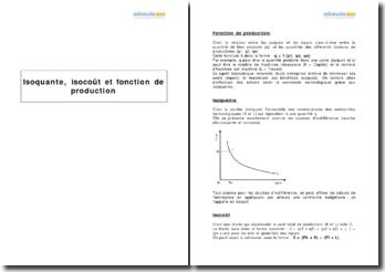 Isoquante, isocoût et fonction de production