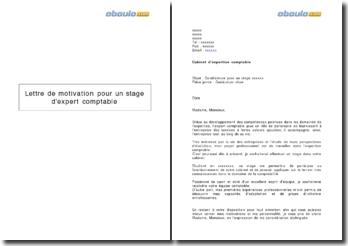 Lettre de motivation pour un stage d'expert comptable