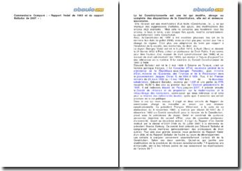 Commentaire Comparé : « Rapport Vedel de 1993 et du rapport Balladur de 2007 »