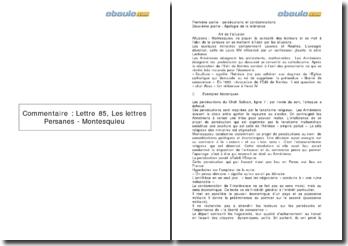 Lettre 85, Les lettres Persanes - Montesquieu