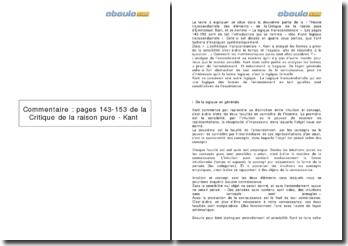 La Critique de la raison pure, pages 143-153 - Kant