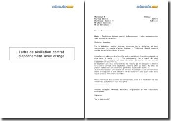 Lettre de résiliation contrat d'abonnement avec Orange