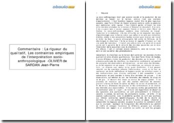 Les contraintes empiriques de l'interprétation socio-anthropologique - OLIVIER de SARDAN Jean-Pierre