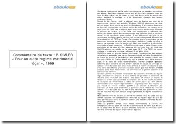 « Pour un autre régime matrimonial légal », P. Simler, 1999