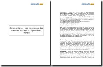 Les classiques des sciences sociales - Dupuis-Deri, Francis
