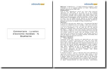 La notion d'économie mondiale - N. Boukharine