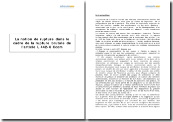 La notion de rupture dans le cadre de la rupture brutale de l'article L 442-6 Ccom