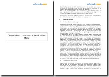 Dissertation : Manuscrit de 1844 - Karl Marx