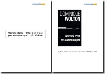 Informer n'est pas communiquer - D. Wolton