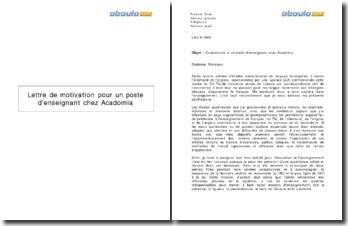 Lettre de motivation pour un poste d'enseignant chez Acadomia