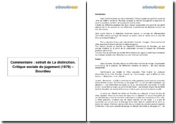 Extrait de La distinction. Critique sociale du jugement (1979) - Bourdieu