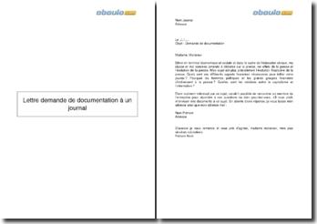 Lettre demande de documentation à un journal