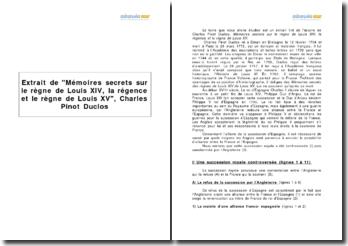 Extrait de Mémoires secrets sur le règne de Louis XIV, la régence et le règne de Louis XV, Charles Pinot Duclos