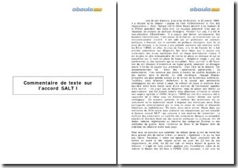 Commentaire de texte sur l'accord SALTI