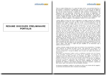 Résumé du discours préliminaire de Portalis