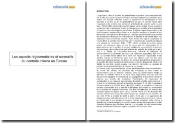 Les aspects réglementaires et normatifs du contrôle interne en Tunisie