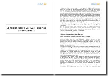 La région Sarre-Lor-Lux - analyse de documents