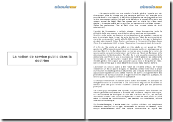 La notion de service public dans la doctrine