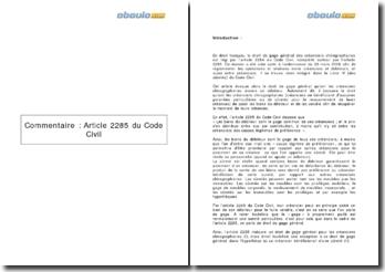 commentaire de l'article 2285 du code civil