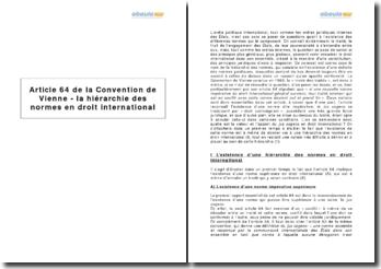 Article 64 de la Convention de Vienne - la hiérarchie des normes en droit international