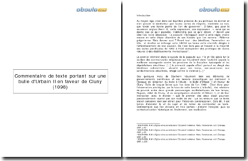 Commentaire de texte portant sur une bulle d'Urbain II en faveur de Cluny ( 1098)
