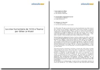 La crise frumentaire de 1316 à Tournai, par Gilles le Muisit
