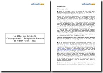 Débat sur la liberté d'enseignement à travers l'analyse d'un discours de Victor Hugo (1850)
