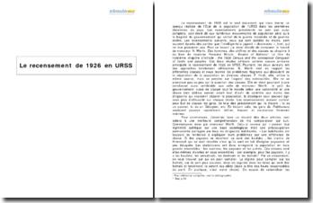 Le recensement de 1926 en URSS