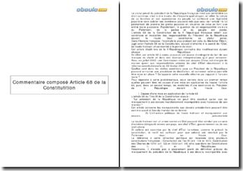 Commentaire composé, article 68 de la Constitution