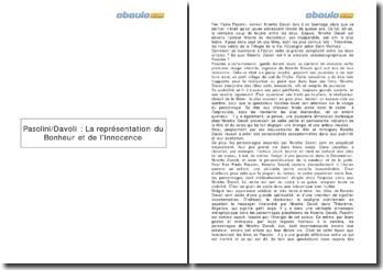 Pasolini/Davoli : la représentation du bonheur et de l'innocence