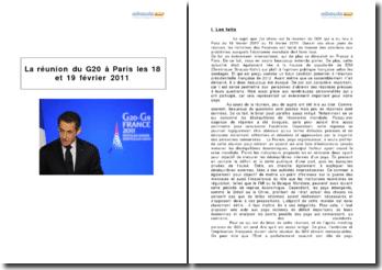 La réunion du G20 à Paris les 18 et 19 février 2011