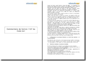 Commentaire de l'article 1107 du Code civil