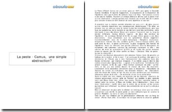 La peste d'Albert Camus, une simple abstraction?