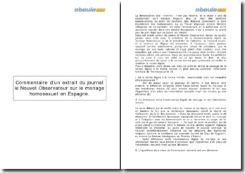 Commentaire d'un extrait du journal le Nouvel Observateur sur le mariage homosexuel en Espagne