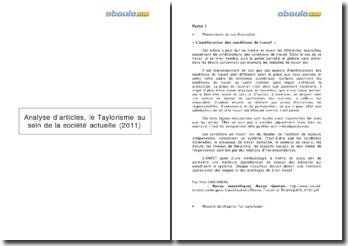 Le Taylorisme au sein de la société actuelle (2011) à travers une analyse d'articles