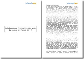 Solutions pour l'intégration des gens du voyage en France (2011)