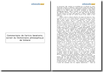 Commentaire de l'article fanatisme, extrait du Dictionnaire philosophique de Voltaire